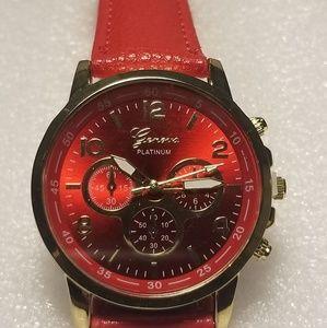 Geneva Platinum Leather Analog Quartz Wrist Watch.